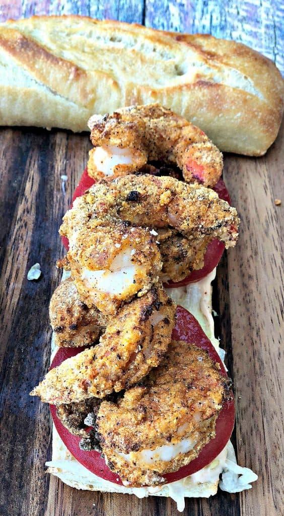 Air Fryer Fried Louisiana Shrimp Po Boy with Remoulade Sauce