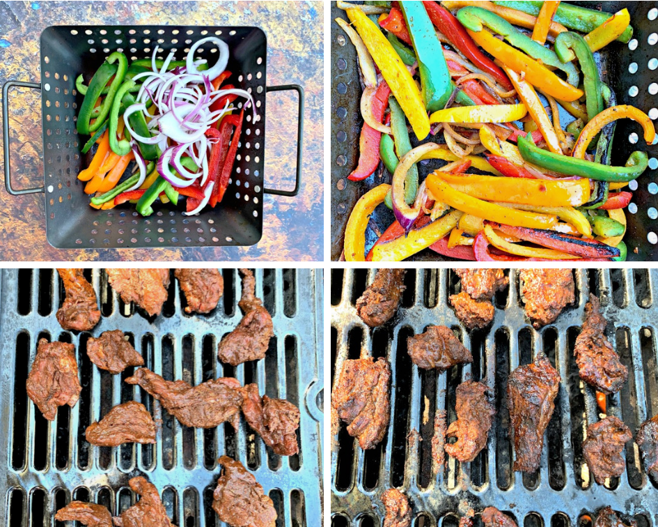 colllage photo of sliced fajita vegetables in a grill basket and sliced steak cooking on a grill