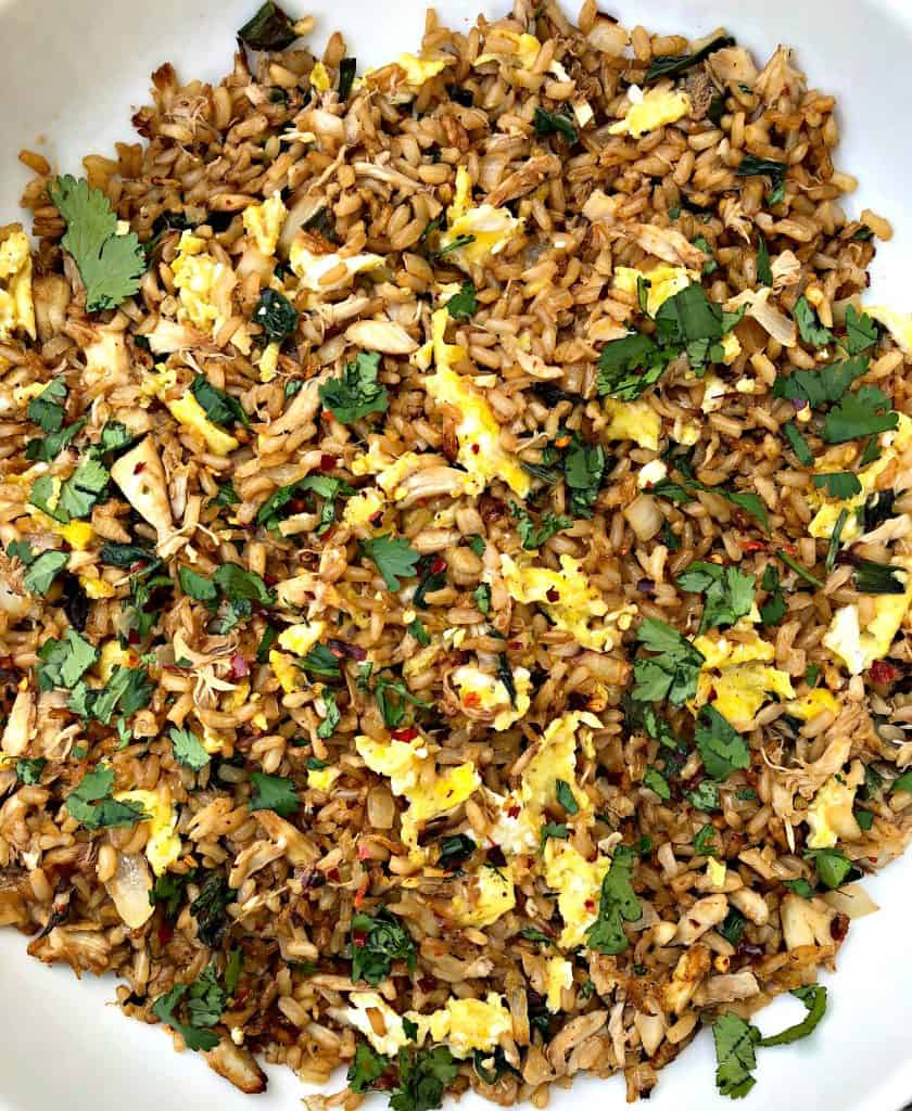 close up photo of air fryer crab fried rice