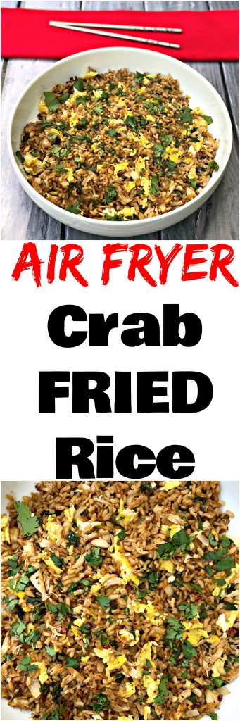 collage photo of 2 pictures of air fryer crab fried rice with a red napkin and chopsticks