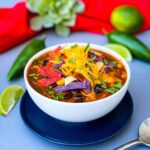 Instant Pot Chicken Tortilla Soup in a white bowl
