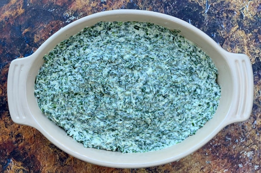 keto low carb spinach dip in a bowl