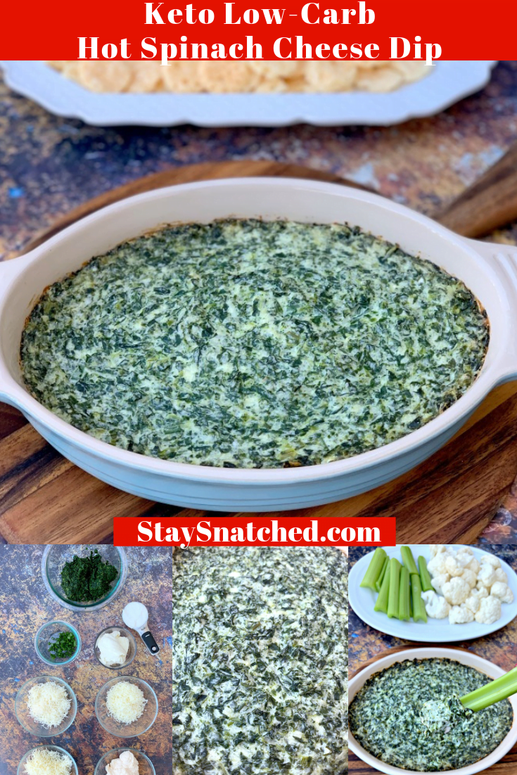 Easy, Keto Low-Carb Baked Hot Spinach Cheese Dip is the best, simple, healthy recipe for creamy and cheesy homemade dip. This warm homemade dish is gluten-free and includes the following ingredients: garlic, frozen spinach, cream cheese, parmesan, and mozzarella. You can throwin artichokes if you wish! Serve this keto-friendly dish with pork rinds, cheese crisps, or vegetables for all of your gatherings and events, or for the Super Bowl! #KetoRecipes #KetoSpinachDip #KetoSuperBowlRecipes