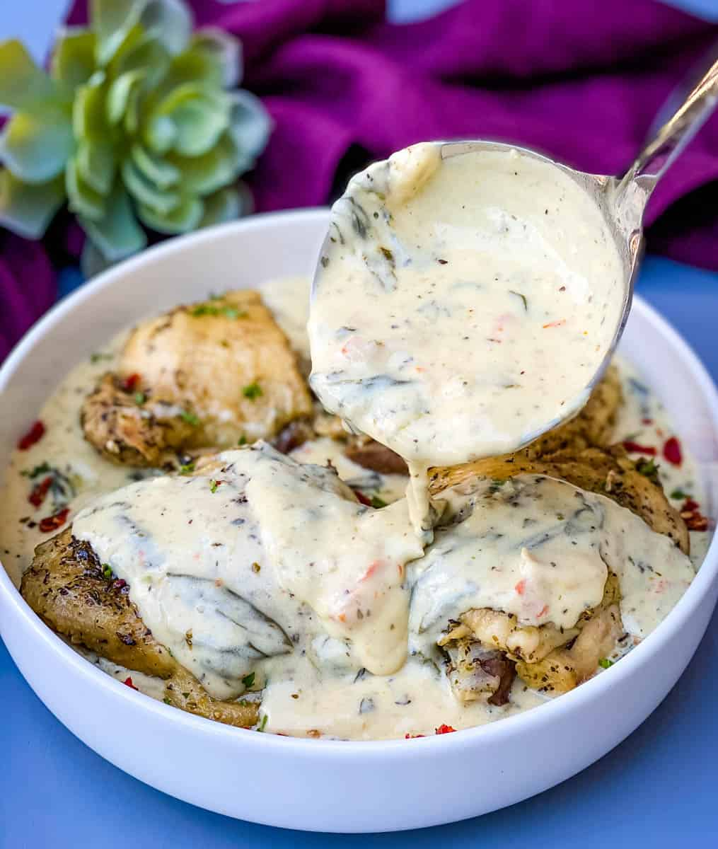Instant Pot Keto Low Carb Creamy Garlic Tuscan Chicken Thighs Amp Video