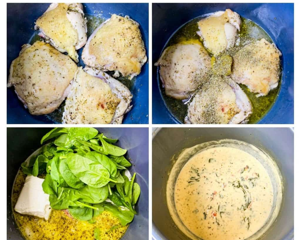 collage photo showing how to make Instant Pot Tuscan chicken with cream sauce and spinach