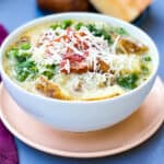 Instant Pot or Slow-Cooker Olive Garden Zuppa Toscana Soup in a serving bowl