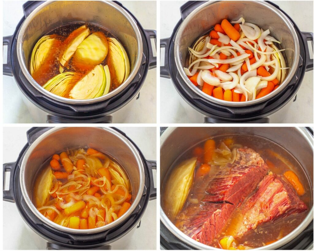 collage photo showing corned beef in an Instant Pot
