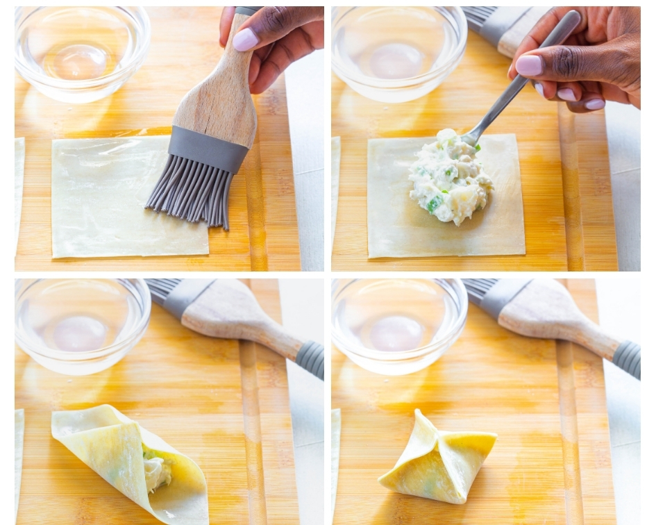 collage photo demonstrating how to fold air fryer crab rangoon