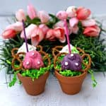 easter bunny butt pretzel candy with tulips and grass in small pails