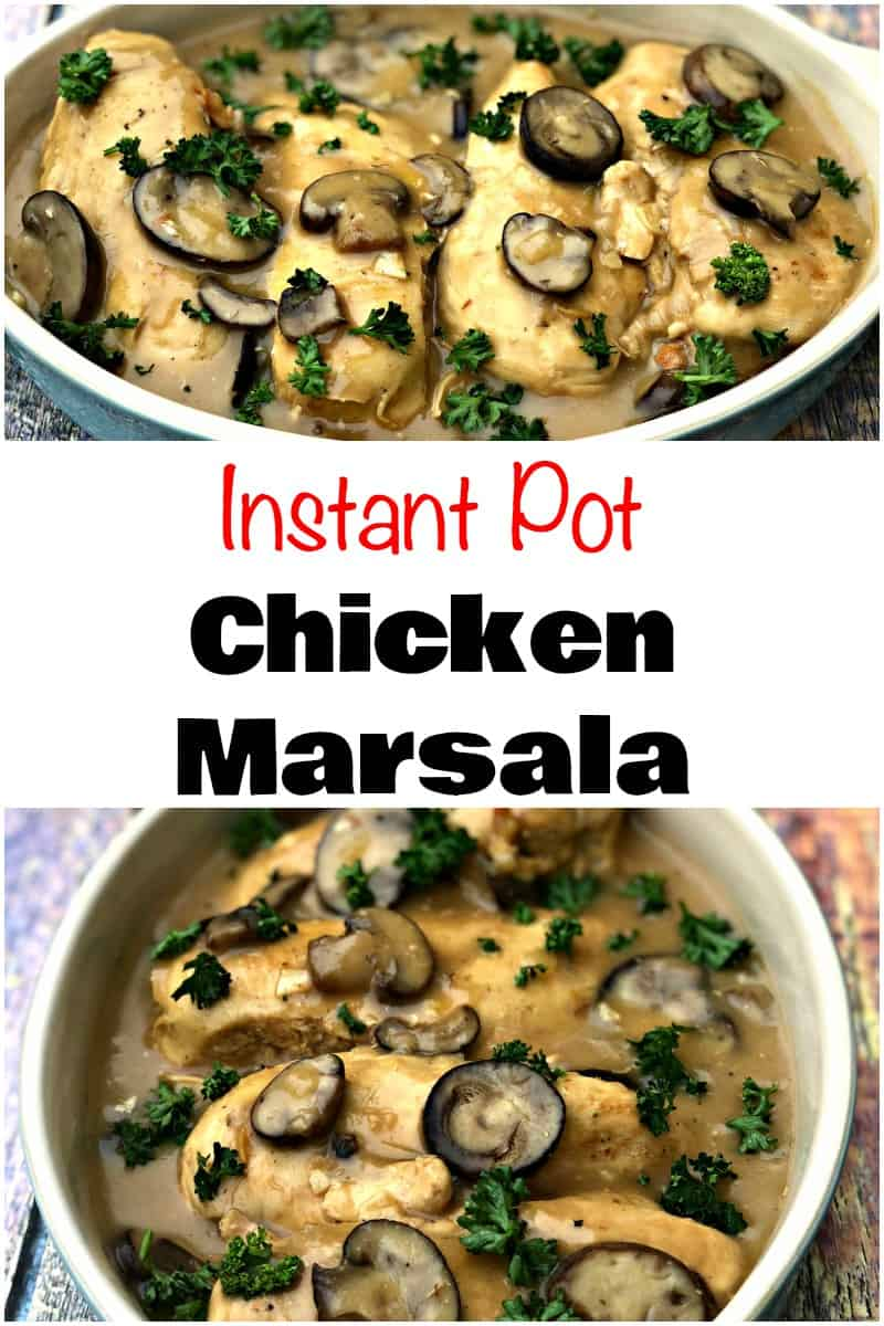 Easy Low-Carb Instant Pot Chicken Marsala is a quick, creamy pressure cooker recipe with marsala wine, juicy chicken breasts, mushrooms, and a decadent sauce. This dish is inspired by Olive Garden and is great for meal prep and weeknight dinners. #InstantPot #InstantPotRecipes #Chicken #PressureCooker #PressureCookerRecipes