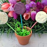 3 oreo easter dessert pops in a small planter with green easter grass