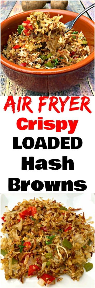Air Fryer Loaded Hash browns is a quick and easy vegetarian and vegan breakfast recipe. This dish is loaded with red and green peppers, and onion. This dish is low-calorie and low-fat but does not compromise on the restaurant, local dinerquality taste. #AirFryer #AirFryerRecipes #Hashbrowns #Breakfast