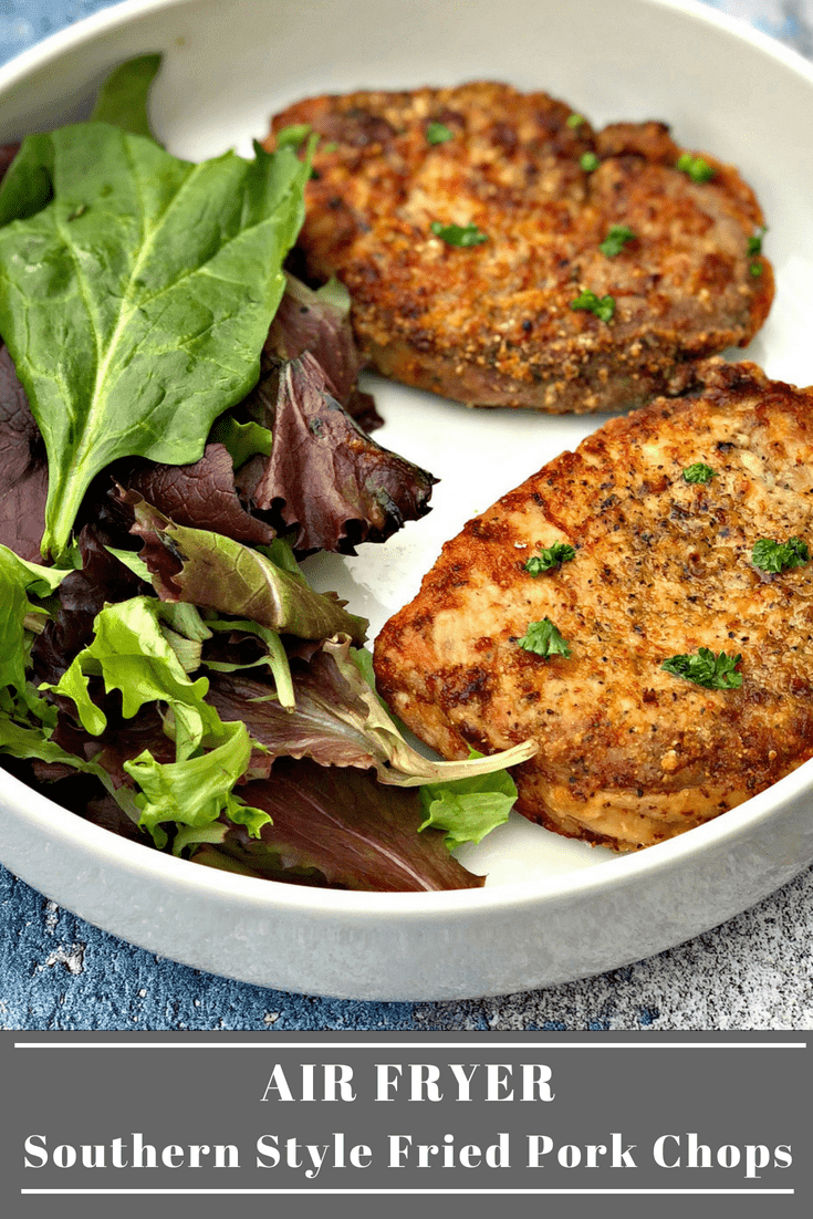 Air Fryer Southern Style Fried Pork Chops is an easy recipe using boneless pork chops, buttermilk, and zesty seasoning to provide the perfect crunchy texture. This recipe provides a lightened-up way to enjoy a down-home comfort food meal with the great taste of soul food cooking. #AirFryer #AirFryerRecipes #Pork #PorkChops