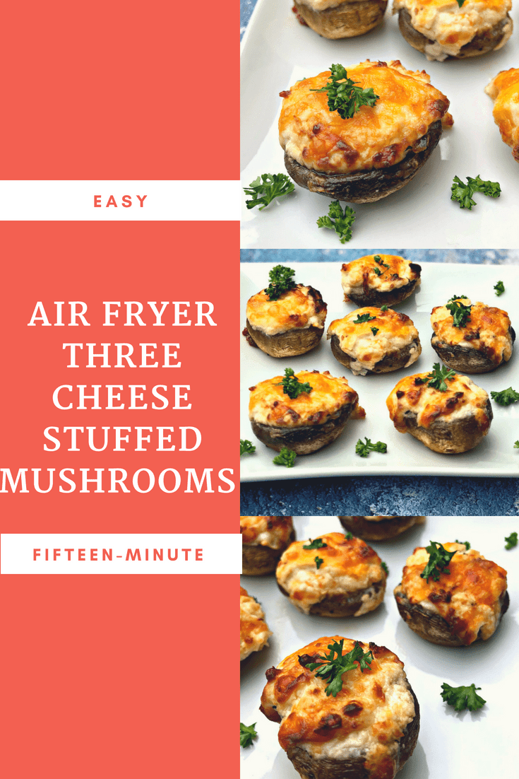Fifteen Minute Air Fryer Three Cheese Stuffed Mushrooms is a low-carb, keto-diet friendly recipe that is quick and easy to make. This recipe is loaded with parmesan, sharp cheddar, and white cheddar cheese, creamy cream cheese, and savory garlic. This dish is the perfect appetizer for parties, events, and gatherings. #AirFryer #AirFryerRecipes #Mushrooms #Appetizers