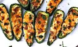 cooked jalapeno popper on a white plate