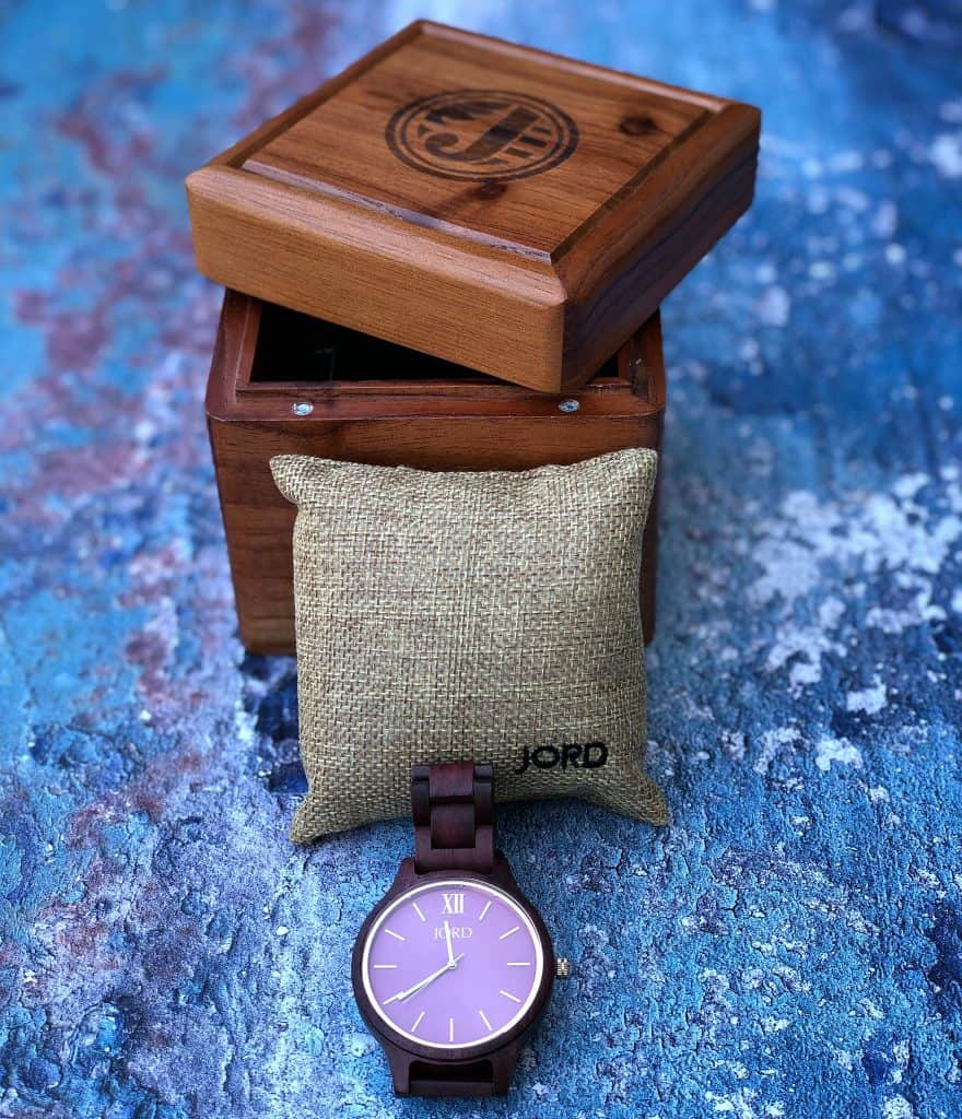 plum and purple wooden watch in a wood box