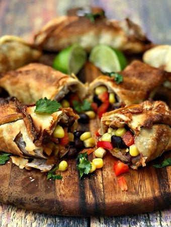 Air Fryer Vegetarian Southwestern Egg Rolls with Avocado Ranch