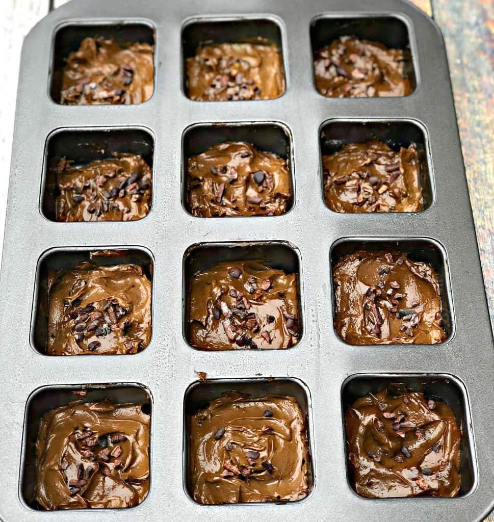 uncooked avocado brownies in a pan