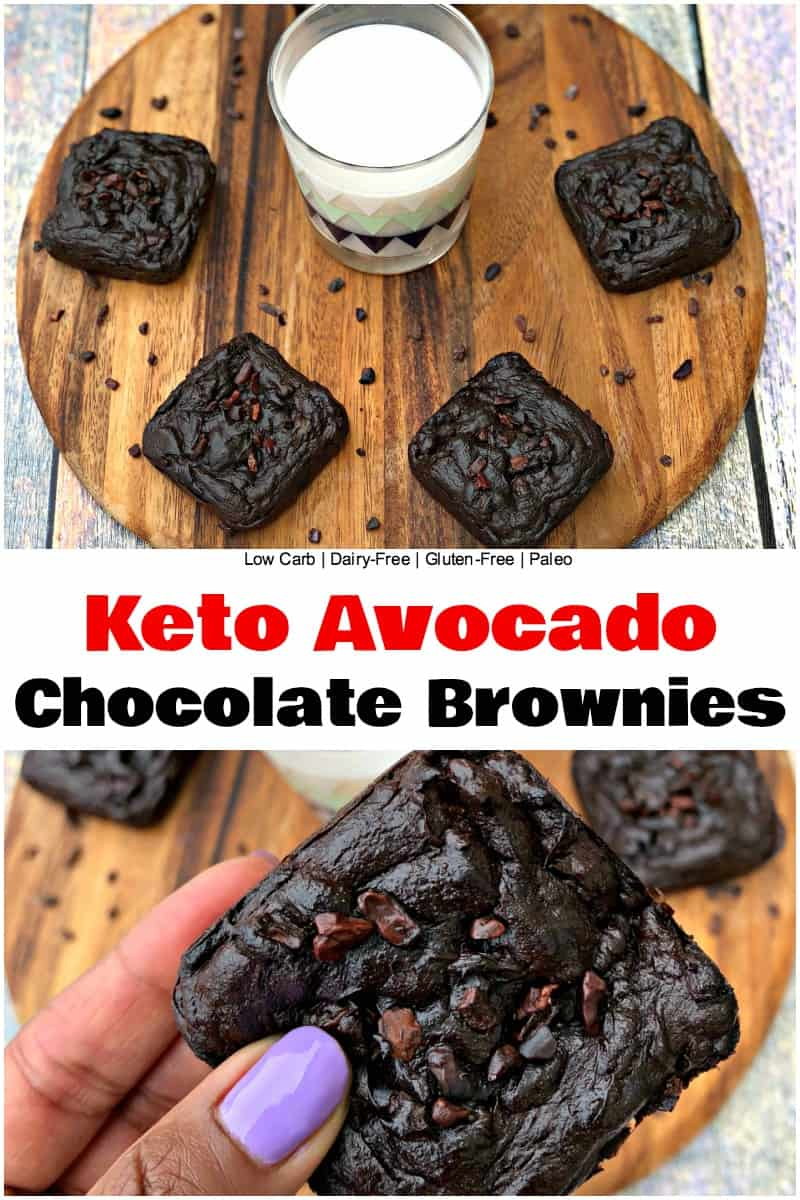 Flourless Keto Avocado Chocolate Brownies (Dairy-Free + Paleo + Gluten-Free) is an easy recipe for low-carb brownies that are free of refined sugar. These brownies only have 3 grams of net carbs per serving! They are also loaded with monounsaturated fat. #Dessert #Keto #KetoRecipes #LowCarb