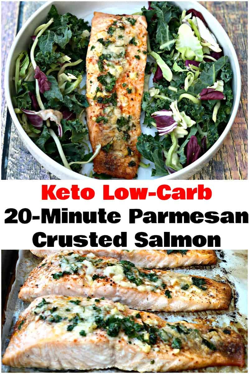 Keto Low-Carb Parmesan Herb Crusted Salmon is a quick and easy recipe that only takes 20 minutes to make. This dish is a family favorite and perfect for weeknight dinners! It's also a staple for ketosis and 2 grams of carbs per serving!