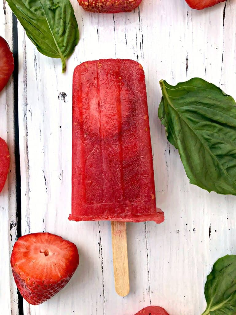 rose' wine popsicles with basil and strawberries