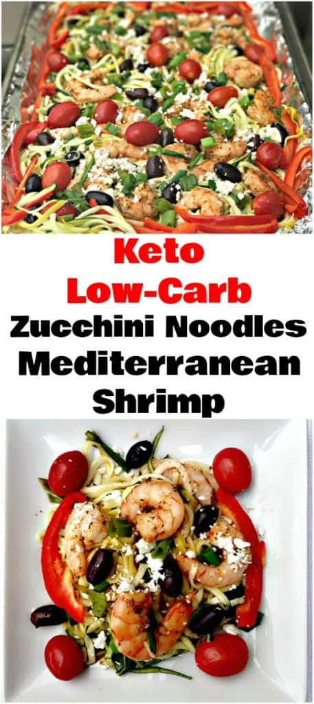 collage photo of mediterranean shrimp and zucchini noodles
