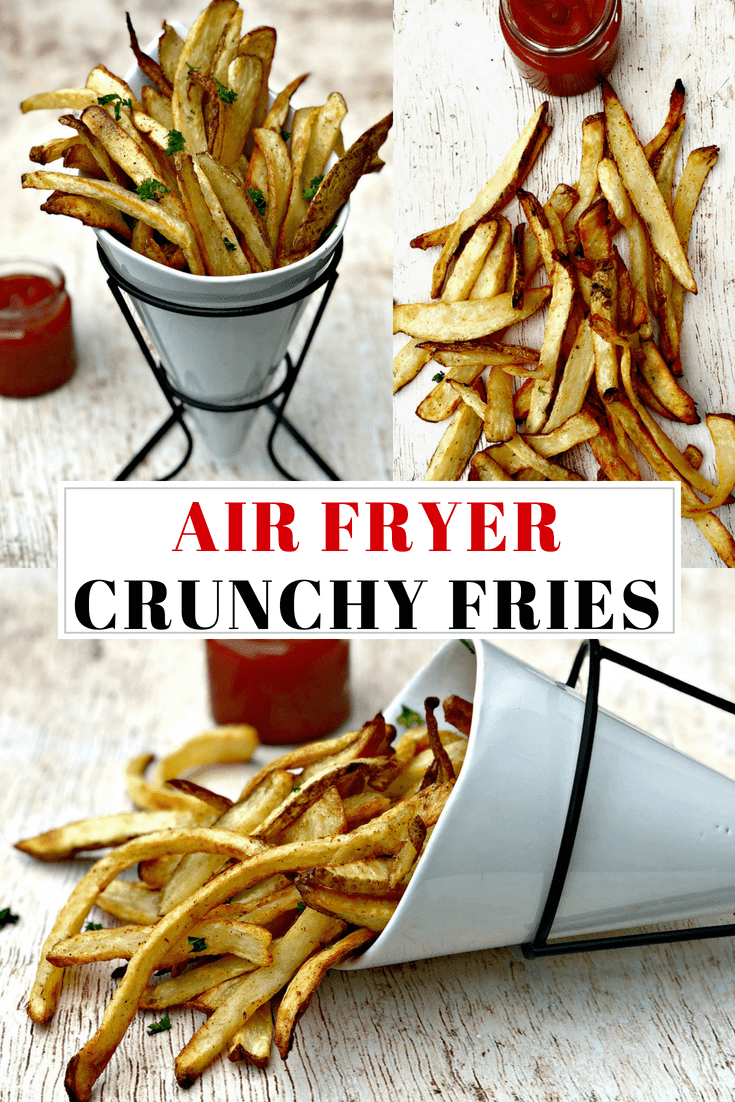 Easy Air Fryer Homemade Crispy French Fries is a quick and easy, fresh recipe that resembles potato wedges. The skin is left on the fries and salted to perfection! Serve these crunchy fries alongside all of your favorite main dishes or dipping sauce. #AirFryer #AirFryerRecipes