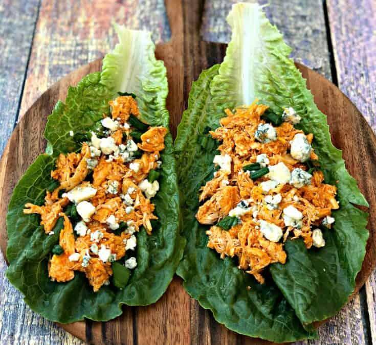 Instant Pot Keto Low-Carb Cheesy Buffalo Chicken Lettuce Wraps