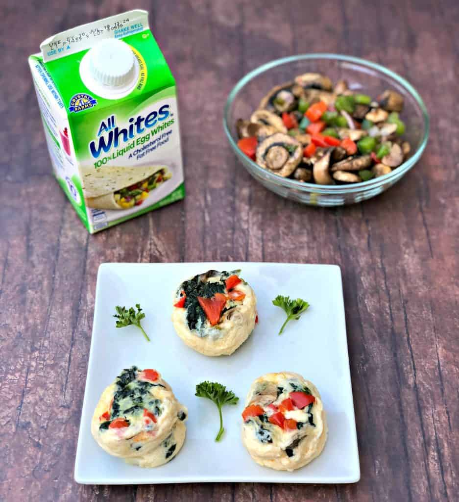 Keto Low-Carb Egg White Omelet Vegetable Bites with a bowl of vegetables