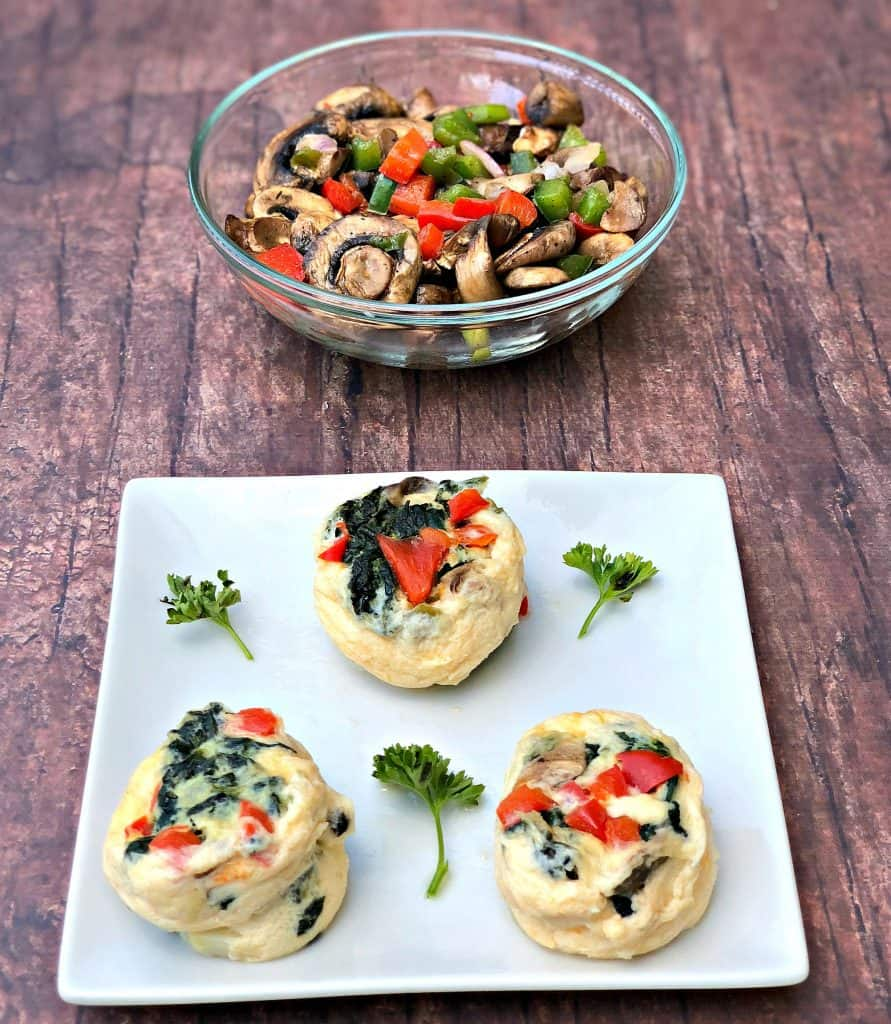 Keto Low-Carb Egg White Omelet Vegetable Bites on a plate