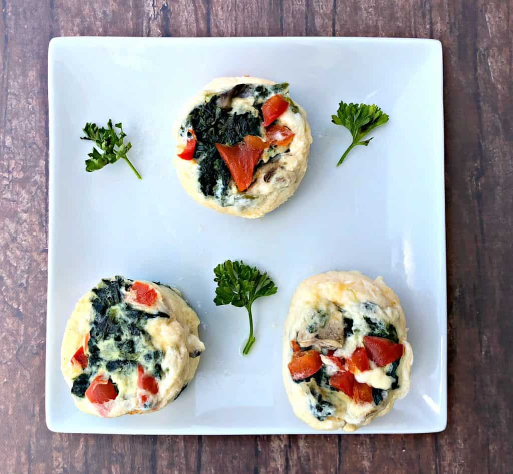 Keto Low-Carb Egg White Omelet Vegetable Bites on a white plate