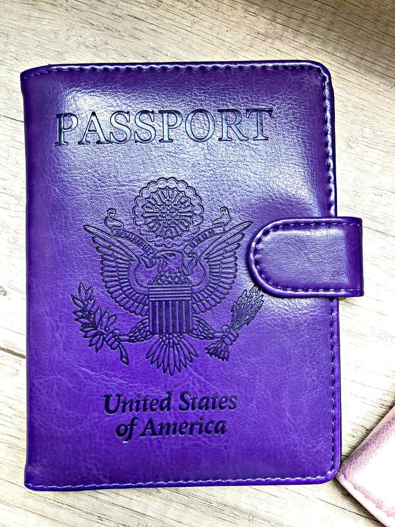 purple passport holder