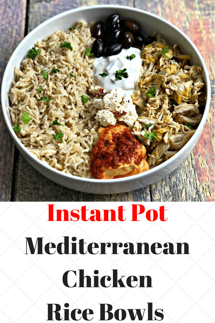 Instant Pot Mediterranean Greek Shredded Chicken and Brown Rice Bowl is a quick and easy pressure cooker recipe perfect for meal prep and weeknight dinners! This bowl includes fresh red pepper hummus,tzatziki sauce, andkalamata olives. The chicken breasts are seasoned with turmeric, thyme, and paprika. #InstantPot #InstantPotRecipes