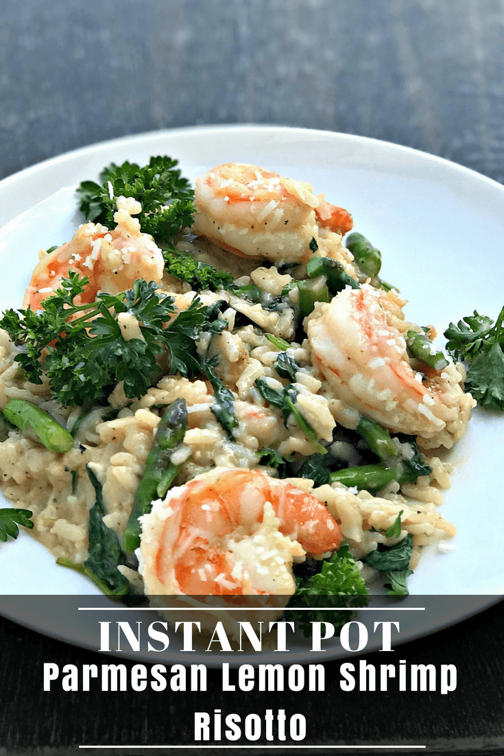 Instant Pot Lemon Shrimp Risotto with Vegetables and Parmesan is a quick and easy pressure cooker recipe with asparagus and spinach. This risotto is cheesy, creamy, and perfect for weeknight dinners or meal prep! #InstantPot #InstantPotRecipes
