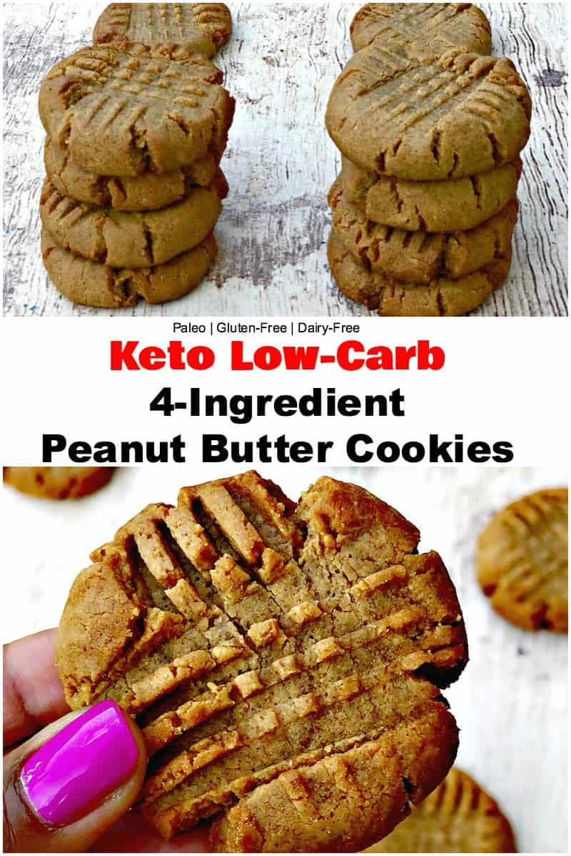 Keto Low-Carb 4 Ingredient Peanut Butter Cookies is a quick and easy, dairy-free, paleo, and gluten-free recipe with video.  These cookies are low-calorie and have 100 calories and 1 gram of net carbs! This dessert is perfect for ketosis and the ketogenic diet. #Keto #KetoRecipes
