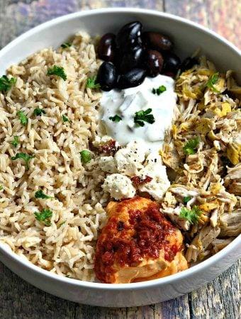 Instant Pot Mediterranean Greek Shredded Chicken and Brown Rice Bowl
