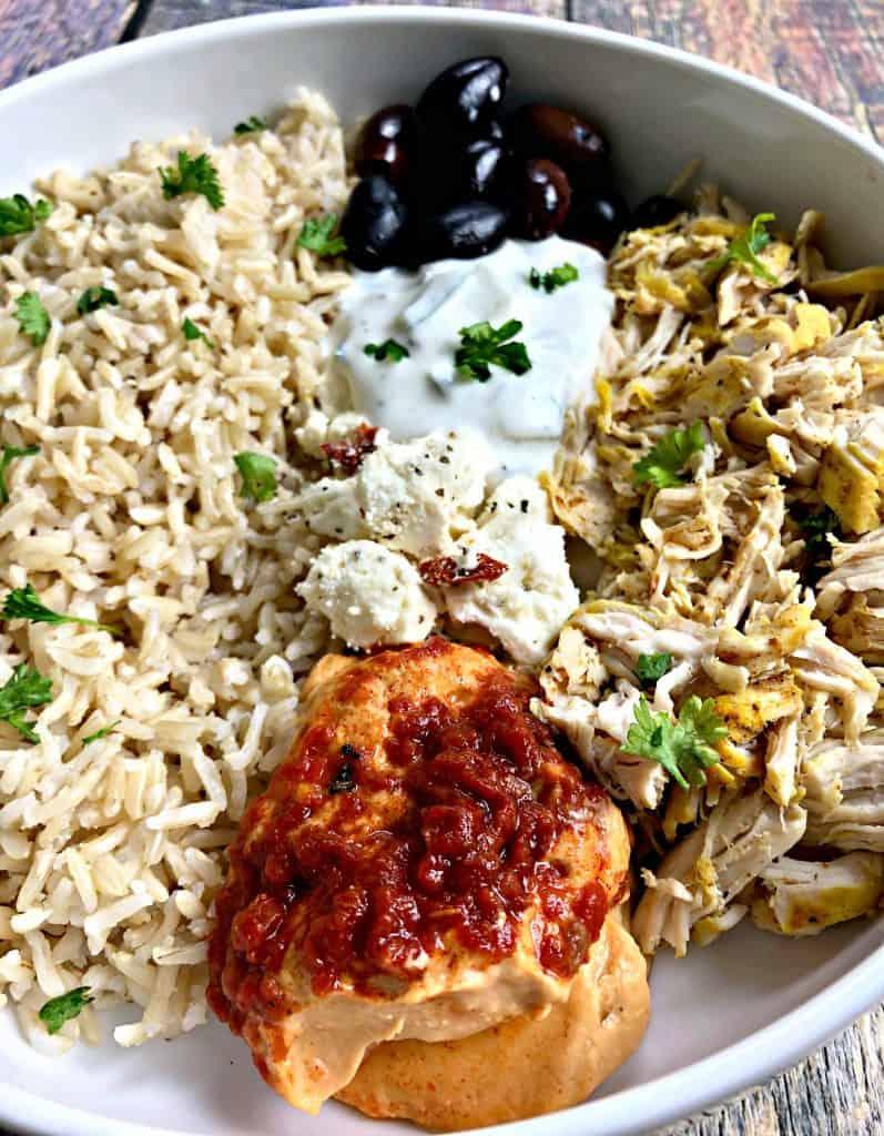 mediterranean chicken bowl in a white bowl