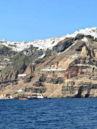 santorini greece coast line and the sea