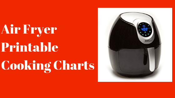 air fryer cooking charts