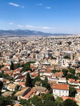 view of athens from acropolis from a rooftop