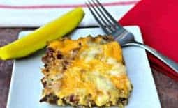 keto cheeseburger casserole with pickle