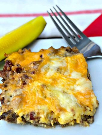 Easy Keto Low-Carb Bacon Cheeseburger Casserole with {VIDEO}
