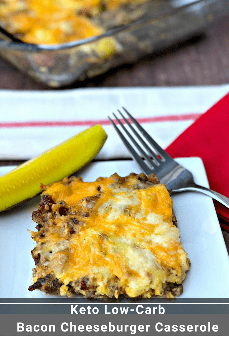 Easy Keto Low-Carb Bacon Cheeseburger Casserole is a simple ground beef recipe that resembles a hamburger pie!  With only 2 grams of carbs, this dish is loaded up with creamy, melted cheese, cream cheese, mustard, worcestershire sauce for burger flavor. You can even serve this dish for breakfast.  #Keto #KetoRecipes #LowCarb #LowCarbRecipes