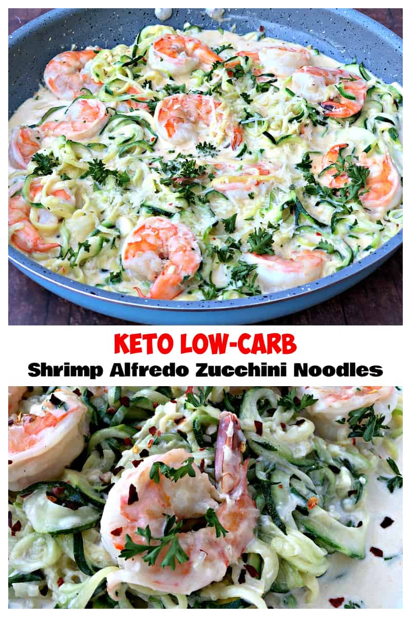 Keto Low-Carb Creamy Garlic Shrimp Alfredo Zucchini Noodles (Zoodles) is a quick and easy recipe that is perfect for the keto diet and ketosis lifestyles. The shrimp is served grilled or pan seared with parmesan cheese and rich alfredo cream sauce. #Keto #KetoRecipes #LowCarb #Shrimp #LowCarbRecipes