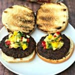 grilled burgers with tropical salsa on a plate