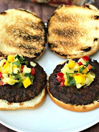 Juicy Grilled Burgers with Pineapple Tropical Salsa