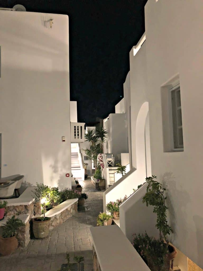 santorini apartment white in color at night