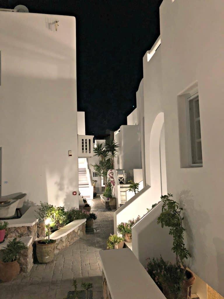 santorini apartment white in color at night