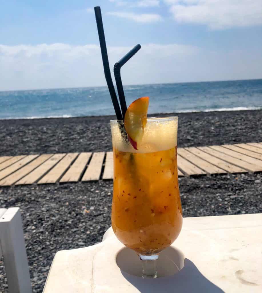 santorini cocktail on beach