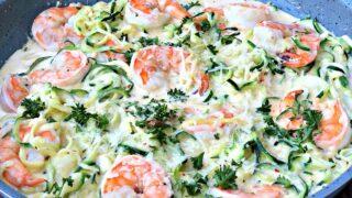 Keto Low-Carb Creamy Garlic Shrimp Alfredo Zucchini Noodles (Zoodles)